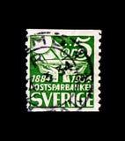 MOSCOU, RÚSSIA - 24 DE NOVEMBRO DE 2017: Um selo impresso na Suécia sh Imagem de Stock Royalty Free