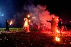 Moscou, Rússia - 20 de outubro de 2018: Mostra do fogo através das ruas fotografia de stock royalty free