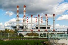 Moscou, Rússia 1º de outubro 2016 O International do poder térmico e o aquecimento de distrito postam Krasnaya Presnya fotografia de stock