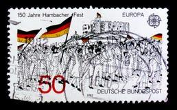 MOSCOU, RÚSSIA - 3 DE OUTUBRO DE 2017: Um selo impresso em Alemanha Fed imagem de stock royalty free