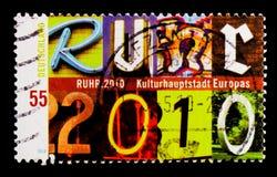 MOSCOU, RÚSSIA - 21 DE OUTUBRO DE 2017: Um selo impresso no alemão Fed imagens de stock