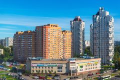 Moscou, Rússia - 20 de setembro 2017 vista do 18o distrito do distrito administrativo de Zelenograd Fotografia de Stock