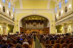 Moscou, Rússia-dezembro, 30, 2017: Grande salão do conservatório de Moscou Tchaikovsky Uma ideia da fase foto de stock royalty free