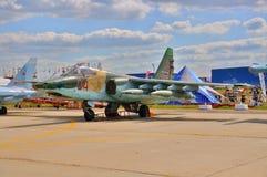 MOSCOU, RÚSSIA - EM AGOSTO DE 2015: os aviões de ataque Su-25 Frogfoot presen Imagens de Stock Royalty Free