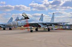 MOSCOU, RÚSSIA - EM AGOSTO DE 2015: torta de fruta multirole dos aviões de lutador Su-35 Imagens de Stock