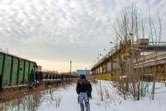 Moscou, Rússia - em janeiro de 2015: O território da planta ZIL de Likhachev da fábrica fotografia de stock royalty free
