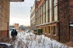 Moscou, Rússia - em janeiro de 2015: O território da planta ZIL de Likhachev da fábrica fotos de stock