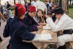 Moscou, Rússia, 08-18-2018 Festival histórico das épocas e das épocas imagens de stock