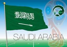 MOSCOU, RÚSSIA, junho-julho de 2018 - Rússia logotipo de 2018 campeonatos do mundo e a bandeira de Arábia Saudita Imagem de Stock Royalty Free