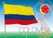 MOSCOU, RÚSSIA, junho-julho de 2018 - Rússia logotipo de 2018 campeonatos do mundo e a bandeira de Colômbia Fotos de Stock