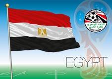 MOSCOU, RÚSSIA, junho-julho de 2018 - Rússia logotipo de 2018 campeonatos do mundo e a bandeira de Egito Fotos de Stock Royalty Free