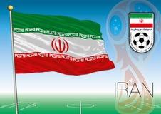 MOSCOU, RÚSSIA, junho-julho de 2018 - Rússia logotipo de 2018 campeonatos do mundo e a bandeira de Irã Imagens de Stock Royalty Free