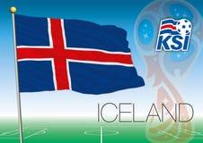 MOSCOU, RÚSSIA, junho-julho de 2018 - Rússia logotipo de 2018 campeonatos do mundo e a bandeira de Islândia Fotos de Stock