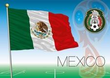 MOSCOU, RÚSSIA, junho-julho de 2018 - Rússia logotipo de 2018 campeonatos do mundo e a bandeira de México ilustração royalty free