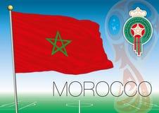 MOSCOU, RÚSSIA, junho-julho de 2018 - Rússia logotipo de 2018 campeonatos do mundo e a bandeira de Marrocos Imagens de Stock