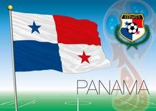 MOSCOU, RÚSSIA, junho-julho de 2018 - Rússia logotipo de 2018 campeonatos do mundo e a bandeira de Panamá Fotografia de Stock Royalty Free