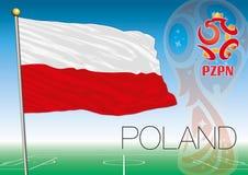 MOSCOU, RÚSSIA, junho-julho de 2018 - Rússia logotipo de 2018 campeonatos do mundo e a bandeira do Polônia Fotografia de Stock