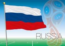 MOSCOU, RÚSSIA, junho-julho de 2018 - Rússia logotipo de 2018 campeonatos do mundo e a bandeira e bandeira do russo Fotos de Stock