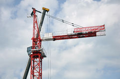 Moscou, Rússia -29 maio de 2015 BASHKRANSNAB - empresa que especializa-se na venda, arrendamento dos guindastes de torre projetad Imagem de Stock Royalty Free