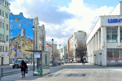 Moscou, Rússia, março, 20, 2016, rua de Pokrovka, grafitti com a imagem da Crimeia na parte dianteira da casa Imagens de Stock