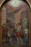 Moscou R?ssia pode 25, 2019 fresco na parede do russo que idoso a igreja descreve a decapita??o de John The Baptist fotos de stock royalty free