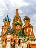 Moscou, Rússia, quadrado vermelho, vista da catedral da manjericão do St Fotos de Stock Royalty Free