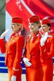 Moscou, Rússia - 05/04/2018: Um evento oficial no aeroporto de Moscou Sheremetyevo em honra do 95th aniversário do Aeroflot foto de stock royalty free