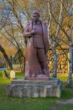 MOSCOU, RUSSIE AVRIL, 24, 2018 : Fermez-vous de la sculpture en bronze de Joseph Vissarionovich Stalin, en parc tombé de monument Photographie stock libre de droits