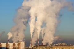 Moscou, Russie, centrale électrique fonctionnante Photos stock