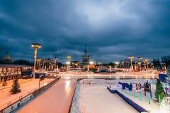 MOSCOU, RUSSIE - 25 DÉCEMBRE 2016 : Le pavillon principal VDNH et amitié de fontaine des personnes à Moscou Photo libre de droits