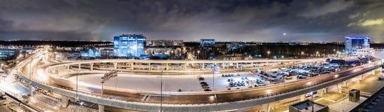 MOSCOU, RUSSIE - 25 décembre 2017 : Vue panoramique de nuit du terminal A de l'aéroport international de Vnukovo et de l'aéroport Photo libre de droits