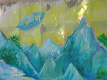 UFO au-dessus des montagnes Images libres de droits