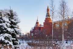 Moscou, Russie - 1er février 2018 : Tours de Moscou Kremlin sur le fond couvert de neige d'arbres Vues de jardin d'Alexandrovsky Photos libres de droits
