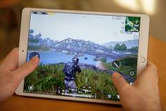 Moscou, Russie - 8 février 2019 Mobile du jeu sur Internet PUBG sur le comprimé photo libre de droits
