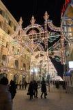 MOSCOU, RUSSIE - 10 janvier 2016 Festival - lumière de Noël - sur la rue de Nikolskaya Photos stock