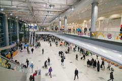 Moscou, Russie - 29 janvier 2017 : Hall intérieur d'arrivée du ` s d'aéroport de Domodedovo Image stock