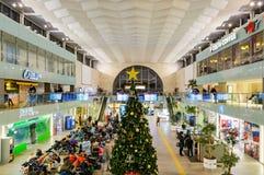 MOSCOU, RUSSIE - 31 JANVIER 2017 : Intérieur de gare ferroviaire de Leningradsky Photographie stock libre de droits