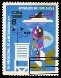 MOSCOU, RUSSIE - 15 JUILLET 2017 : Timbre rare imprimé dans des expositions du Cuba Photographie stock