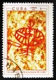 MOSCOU, RUSSIE - 15 JUILLET 2017 : Un timbre imprimé au Cuba montre des RP Photos stock