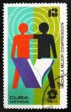 MOSCOU, RUSSIE - 15 JUILLET 2017 : Un timbre imprimé au Cuba montre E Photos stock