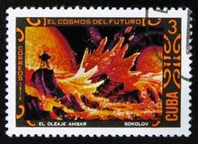 MOSCOU, RUSSIE - 15 JUILLET 2017 : Un timbre imprimé au Cuba montre le fu Images libres de droits