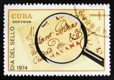 MOSCOU, RUSSIE - 15 JUILLET 2017 : Un timbre imprimé au Cuba montre Lo Images stock