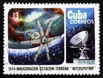 MOSCOU, RUSSIE - 15 JUILLET 2017 : Un timbre imprimé dans des expositions du Cuba dedans Photo libre de droits