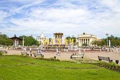 Moscou, Russie - 29 juin 2016 : Amitié de fontaine des peuples au centre d'exposition (VDNKh) Photos libres de droits