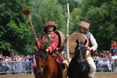MOSCOU, RUSSIE - 23 JUIN 2013 : Deux châtelains drôles d'un médiéval Photo libre de droits