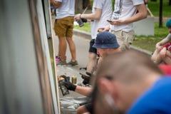 Moscou, Russie - 18 juin 2016 Les artistes de rue concurrencent dans la maîtrise de la Biennale Photographie stock