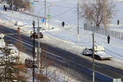 Moscou, Russie, le 6 janvier 2018 Hiver Poutine et capital de Stalin Placez la ville d'hiver de neige, jour, lumière du soleil Ru Image libre de droits