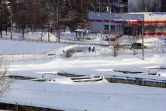 Moscou, Russie, le 6 janvier 2018 Hiver Poutine et capital de Stalin Placez la ville d'hiver de neige, jour, lumière du soleil Ru Photos libres de droits