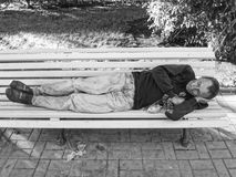 Moscou, Russie, le 15 septembre 2017 : Personnes sans abri et leurs RP Photos stock