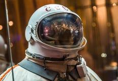 MOSCOU, RUSSIE - 31 MAI 2016 : Combinaison spatiale russe d'astronaute dans le musée d'espace de Moscou Images libres de droits